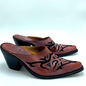 Sancho pink red rustic heeled mules leather size 9